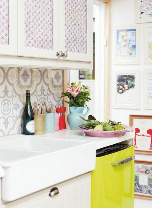"""for basement mini kitchen: a cute patterned tile over a small counter area. if theres extra closet space down there, take the door off and make this a """"mini-kitchen"""""""