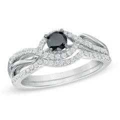 0.50 CT. T.W. Enhanced Black and White Diamond Bypass Bridal Set in Sterling Silver  - Peoples Jewellers