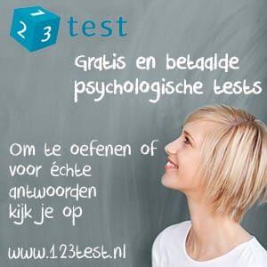 Gratis en betaalde professionele psychologische tests maken? Om te oefenen of voor échte antwoorden kijk je op https://www.123test.nl