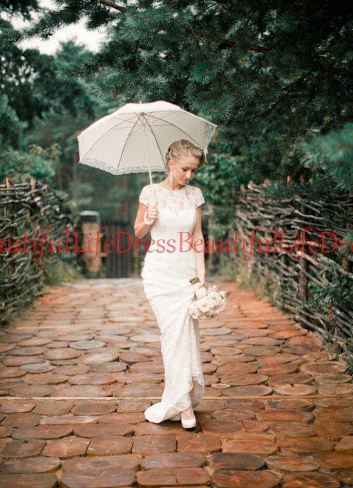 lace wedding dress / white wedding dress / by BeautifulLifeDress, $235.99