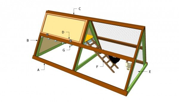 Simple A-frame chicken coop. We're building this except including a roosting pole that doubles as a handle on each side to make it a mobile coop, and we're using Tidy Cat boxes as laying/nest boxes.
