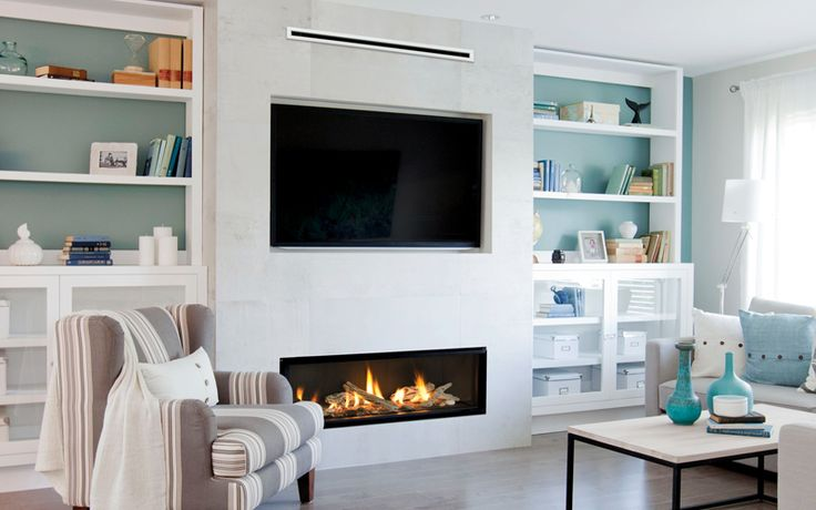 This is the fireplace we are thinking of getting, because it is linear, low profile, so the TV can sit lower. -MG Valor | L2 Linear Series shown with the HeatShift System™