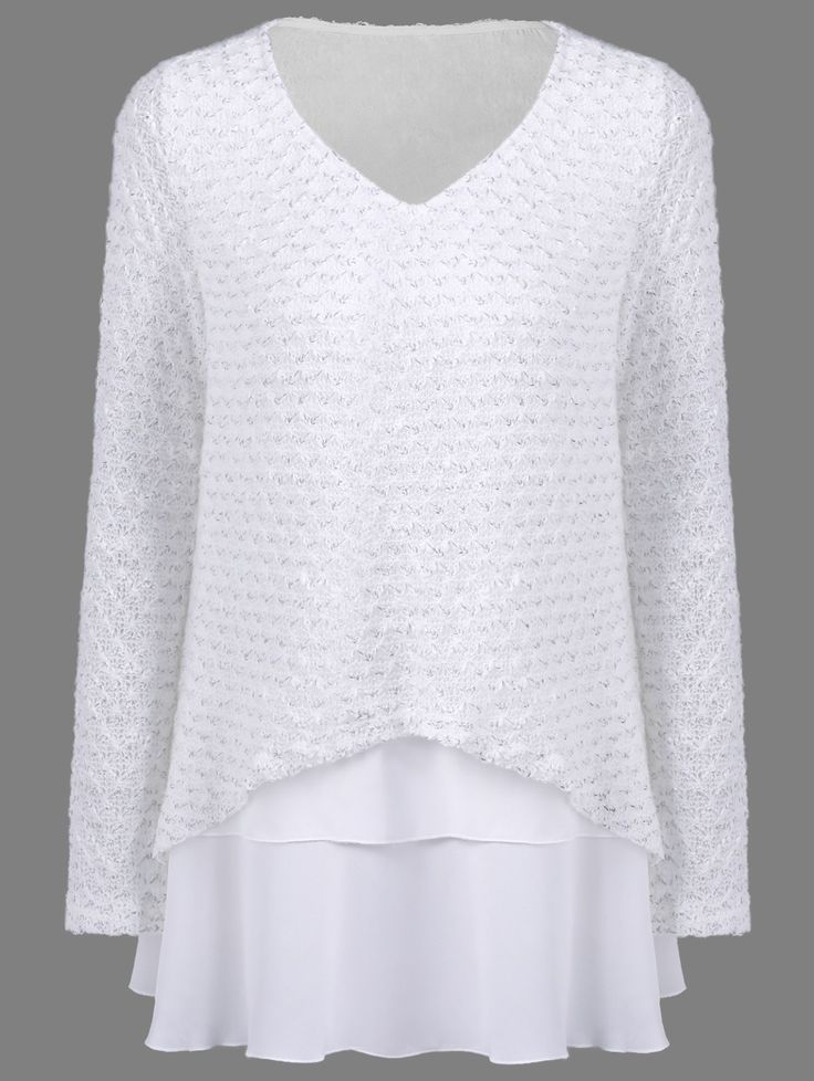 Chiffon Patchwork Loose Knitwear in White | Sammydress.com