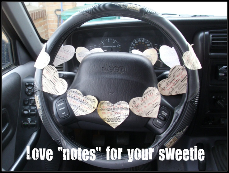 """Instead of the love note tucked into his lunch, try these love """"notes"""" made of vintage sheet music left over his steering wheel, with music phrases such as """"Being with you is a happy SONG,"""" """"You make my heart BEAT,"""" """"I love the way you PLAY,"""" """"Just a NOTE to say I love you,"""" """"My heart keeps RYTHM with yours,"""" """"Can we FIDDLE around?,"""" """"You hold the KEY to my heart,"""" """"I have a MAJOR crush on you,"""" """"You're a ten on my SCALE,"""" """"You're so SUITE,"""" or """"Your VOICE is MUSIC to my ears."""" #music"""