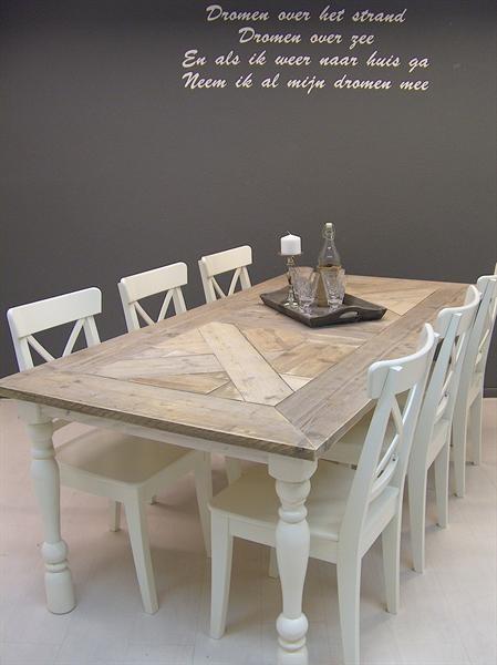 Grote foto tafel landelijke eetkamer steigerhout riviera woning inrichting tafels
