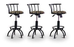"3 24""-29"" Brown Zebra Faux Fur Animal Print Seat Black Adjustable Specialty / Custom Barstools Set"