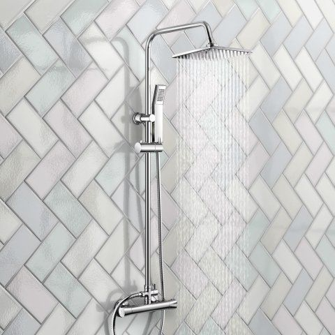 200mm Square Head Thermostatic Exposed Shower Kit & Hand Held