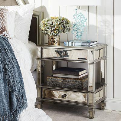 Hayworth Mirrored Silver 2-Drawer Nightstand