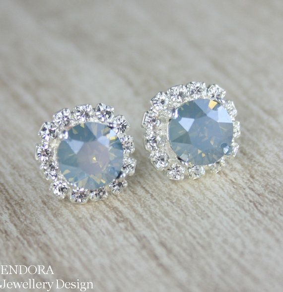 Dusty Blue Earrings Wedding Bridal Swarovski Rose Gold 8mm Jewelry