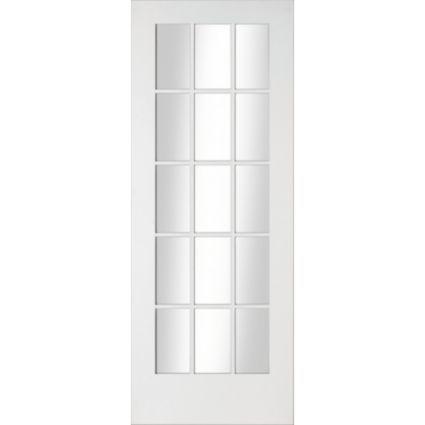 15 Lite Primed Smooth Fully Glazed Internal Glazed Door, (H)1981mm (W)762mm: Image 1