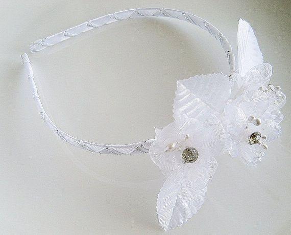 Flower Girl Headband, Girls Headband, Wedding Hair Band, Flower Headband, First Communion Headband, Toddler Headband, White Flower Hairband
