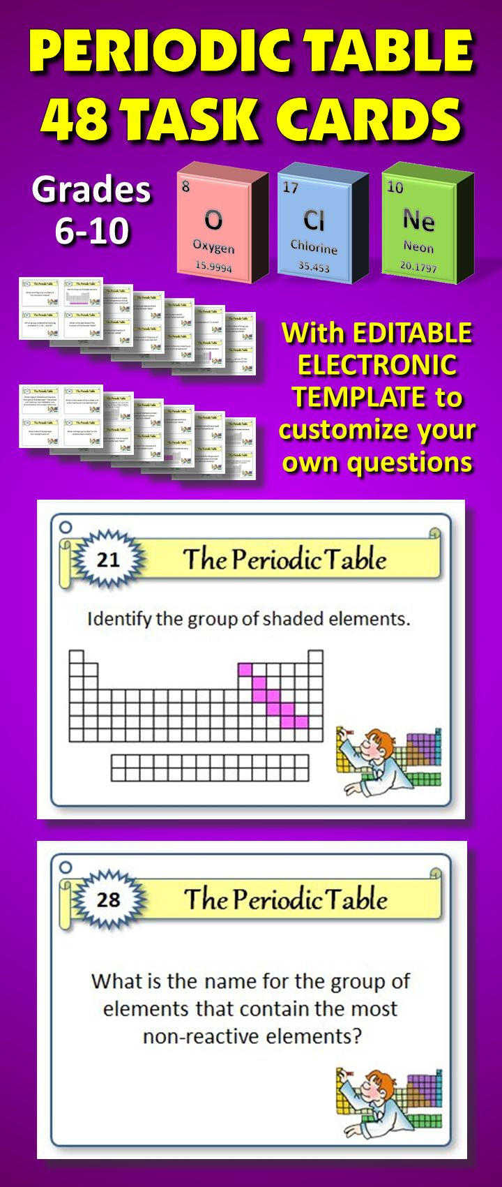 48 best teaching chemistry periodic table and trends images on 48 periodic table task cards with editable electronic template to customize your own questions helps urtaz Gallery