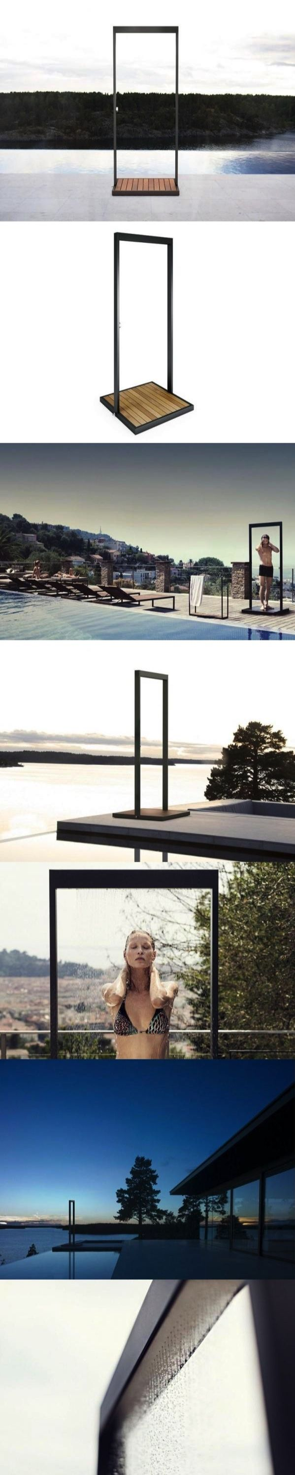GARDEN | Outdoor shower Iron outdoor shower , design by BRDA - BROBERG & RIDDERSTRÅLE Outdoor shower. The pool area or the outdoor lounge, requires a stylish shower. Equipped with a baseplate made of beautiful teak. Lovely rain effect from the perforated overlying profile. Easy to connect via standard connection. Measurements 85 x 85 x 214 cm, Weight: 47,7kg Material Teak, Stainless steel Colors Anthracite Further info from manufacturer on GARDEN | Outdoor shower