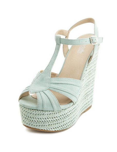 Pleated T-Strap Woven Wedge Sandal: Charlotte Russe