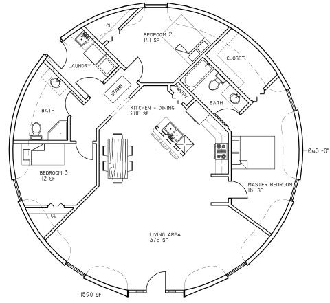 Dome house plans---- separate rooms with large living room to be yoga  space, bedrooms can be turned into changing rooms, retail space, lounge, ...