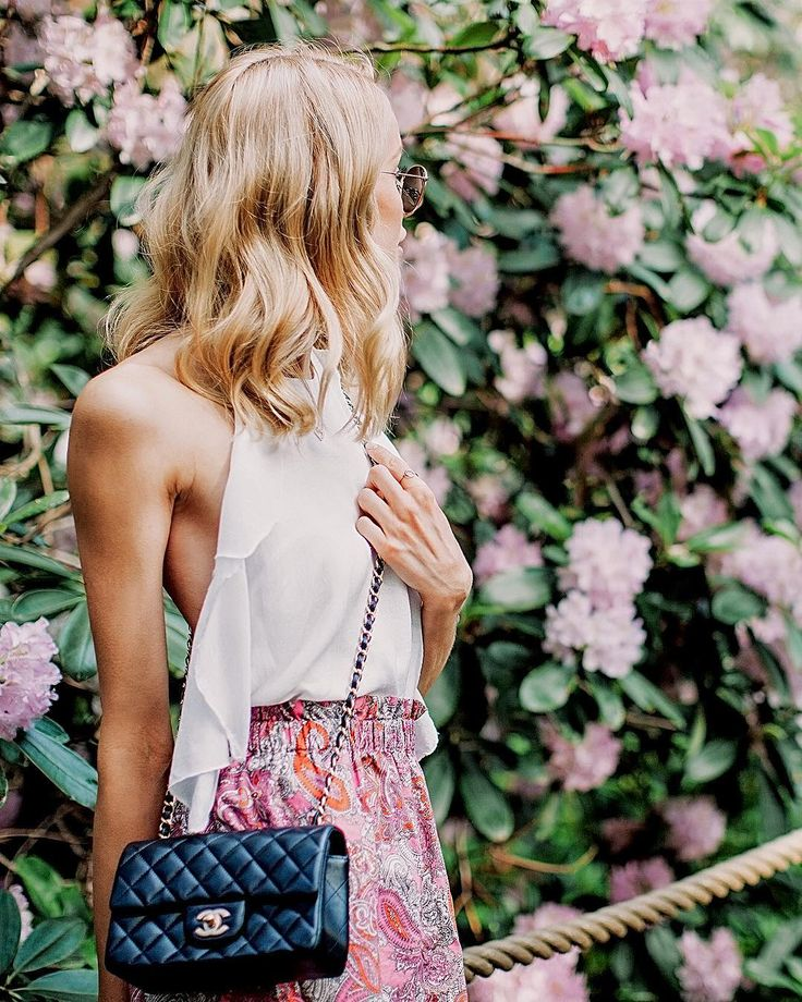 Summer style with an open-back top, boho print skirt and a Chanel bag shot in the beautiful Rhododendron park - Anna Pauliina, Arctic Vanilla blog.