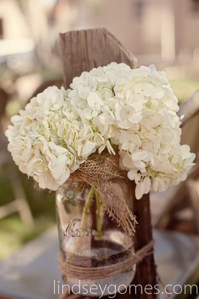 burlap, mason jar, and hydrangeas great idea to save some money you can swith it for reception by takibg the flowers out laying them on the table and adding a candle :) ******