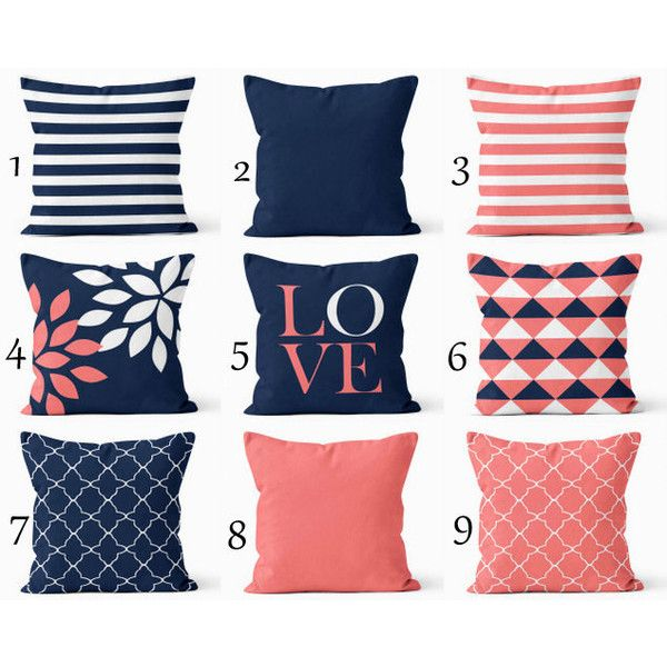 throw pillow covers navy coral white navy blue pillow typography art 34 - Coral Decorative Pillows