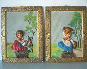 Coppia di QUADRETTI decorativi tridimensionali dipinti in rilievo anni '50