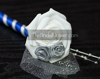 Royal blue and silver silk wedding bridal by TheBridalFlower