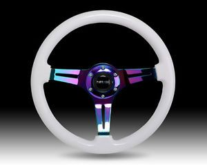 NRG Steering Wheel Classic White Wood Grain 3 Spoke Neochrome Center St 015MC WT | eBay