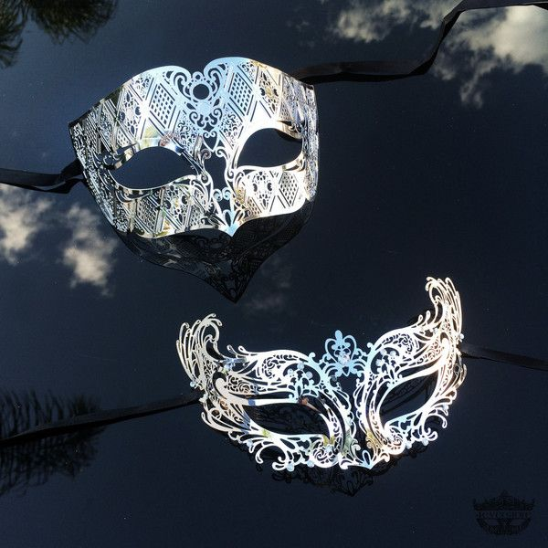 His Hers Masquerade Mask, Silver Masquerade Mask, Couples Masquerade... ($40) ❤ liked on Polyvore featuring men's fashion