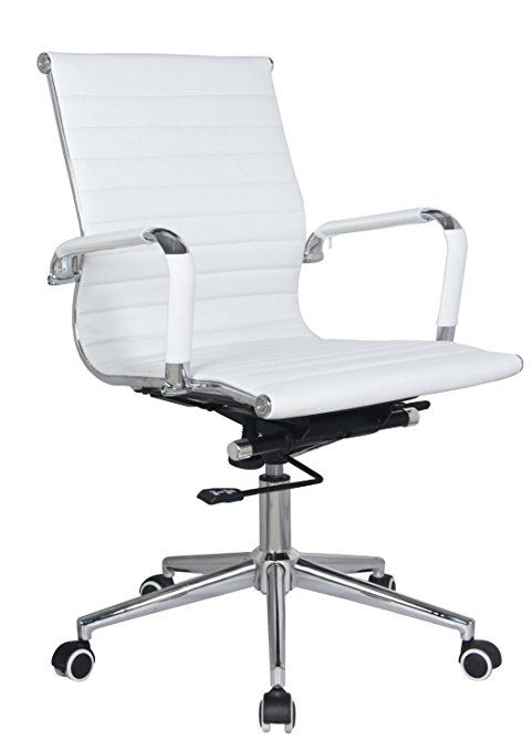Eames Replica mid back office chair WHITE Pleather - stabilizing swivel bar and knee tilt with tensioner knob. (Single Mid Back, White) CH2801