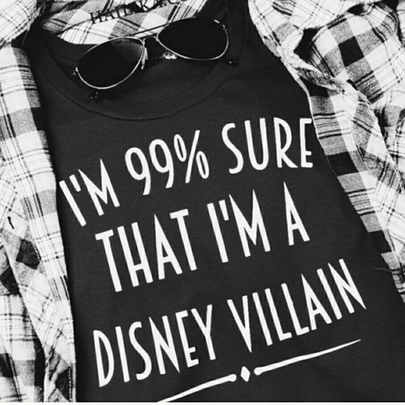 99% Sure I'm A Disney Villain Shirt 99% Sure I'm A Disney Villain Shirt Two sizes ready to ship. Xl blue or small purple. Women's (ladies) standard fit. Other sizes and colors available for $5 more. Bundle save!   Please do not buy this listing! Comment for your own listing Tops Tees - Short Sleeve