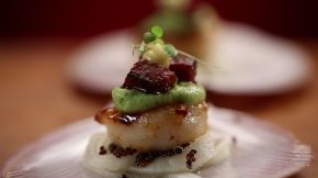 My Kitchen Rules Luke and Scott: Seared Scallops with Caramelised Chorizo, Pickled Apple and Lime Mayonnaise