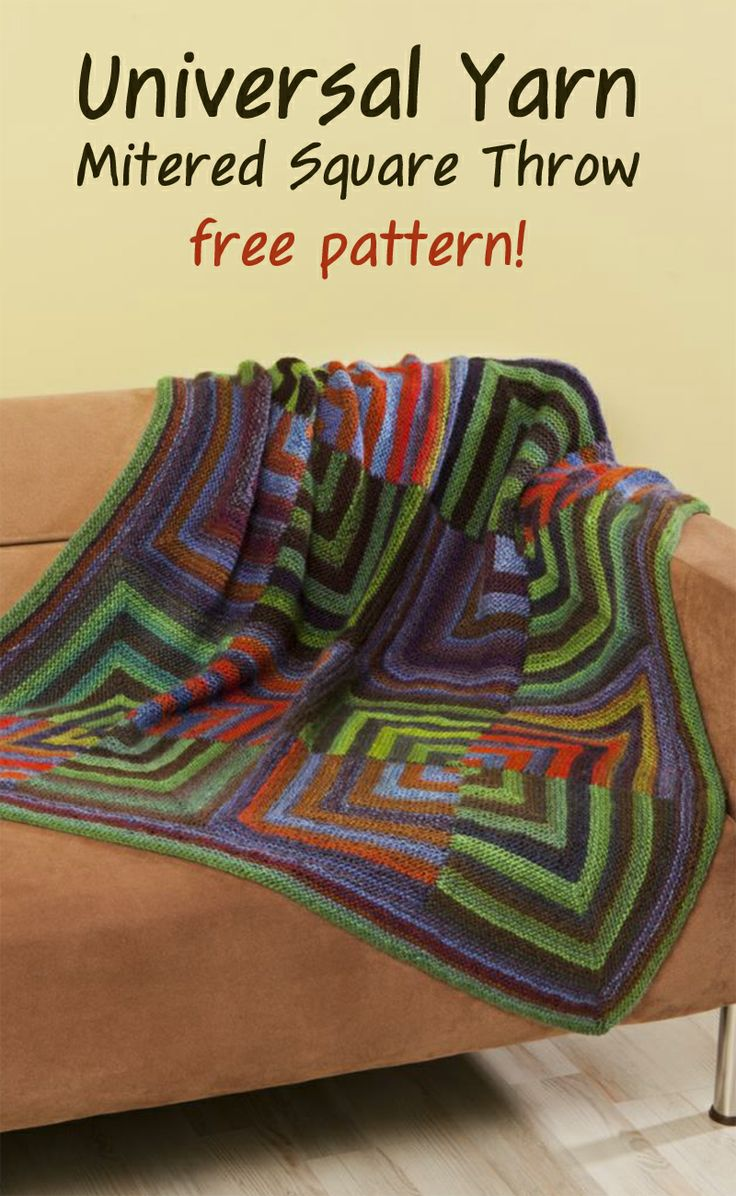 Today's free pattern highlight is the Mitered Square Throw knit in Universal Yarn Classic Shades, now on sale through April for $5.29/skein (reg. $7.50). #knitting #freepattern