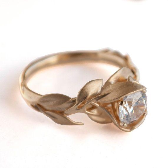 Leaves Engagement Ring No.7 - 18K Yellow Gold and Diamond engagement ring, engagement ring, leaf ring, filigree, antique,art nouveau,vintage...