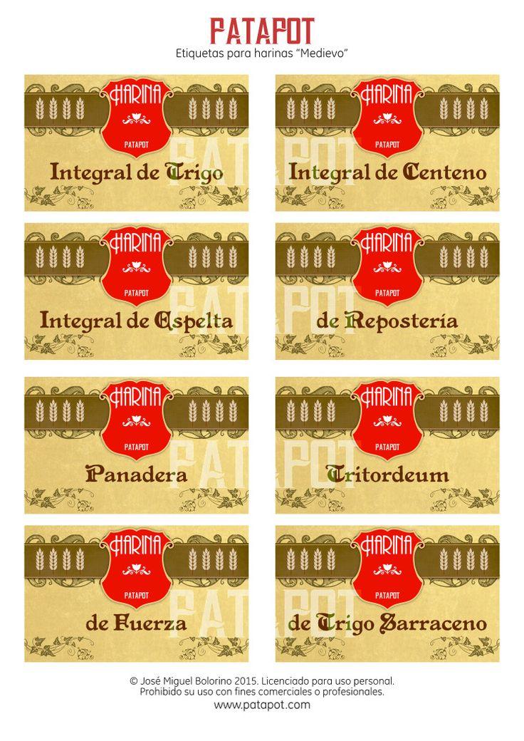 Juego de etiquetas medievales para harinas