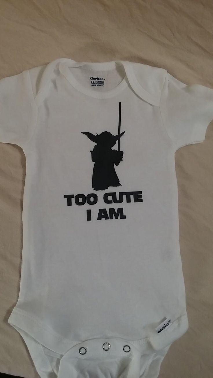 "Star Wars inspired t-shirt, ""Too Cute I Am"" Yoda shirt, Star Wars Baby, Custom…"