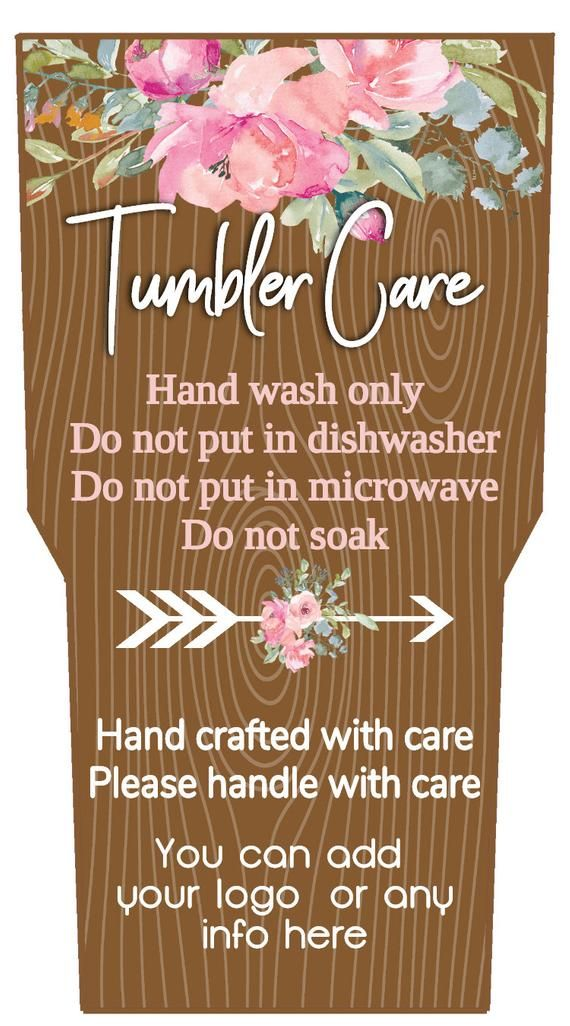 wood floral tumbler care cards  add to your sale  jpeg or