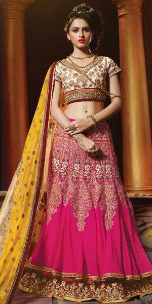 Classy Pink And Yellow Georgette Designer Lehenga With Dupatta.