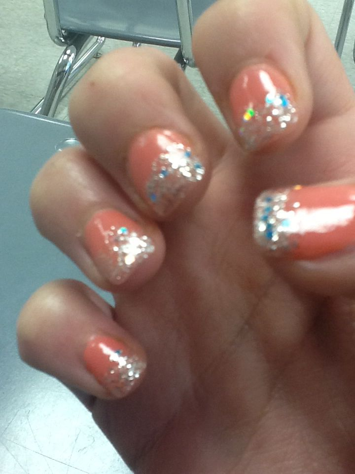 Light corral nails with sparkly tips :)