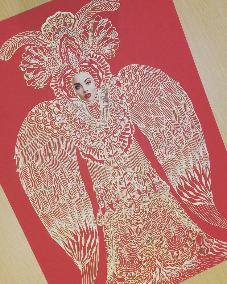Птица-сирин #эскиз Многие смотрят на нее и фыркают что типа что- то с пропорциями. Да не очень она у меня получилась. Но надо не забывать что у птицы-сирин голова человека а тело птицы. #птицасирин #art #illustration #drawing #sketch #red #gold #goldpen #artsharing #artistoninstagram #artist #artwork #pattern #elislisart #russianart #russiangold #beauty