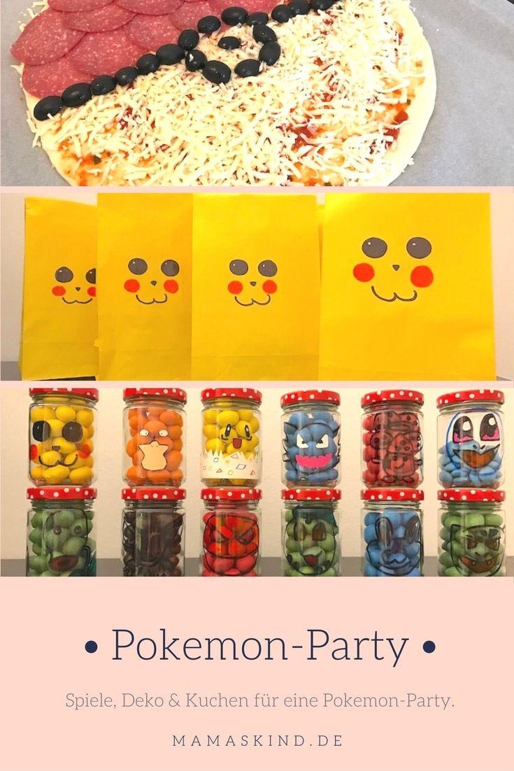 Spiele, Deko und Kuchen für einen Pokemon-Geburtstag. Die Deko für die Pikachu-Party ist selbstgemacht! Mehr Infos auf https://mamaskind.de.