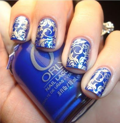 All of the crap Erika does on Chloe's Nails is gorgeous... if only she'd start posting again!  An awesome cobalt with silver Konad.: Nails Stamps, Nails Art, Chloe Nails, Beautiful, Konad Nails, Drinks, Royals Navy, Nail Art, Blue Nails