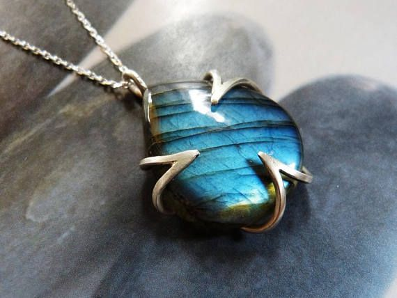 Labradorite silver necklace natural wrapped jewelry elegant
