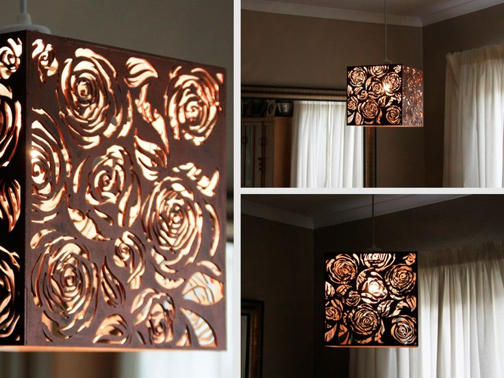 Laser Cut Copper Rose Light Shade