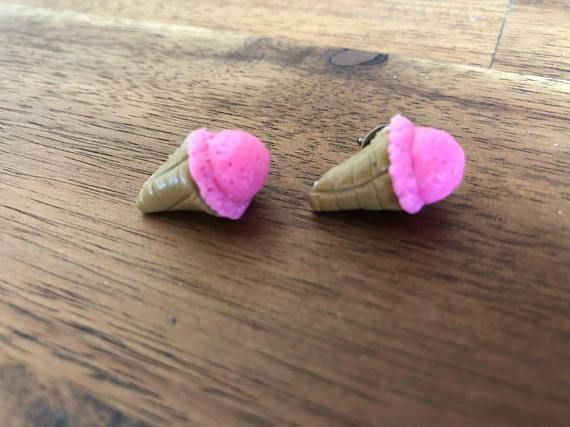 Handmade polymer clay ice cream come stud earrings with hypoallergenic surgical stainless steel. These ice cream earrings are perfect for a hot summers day. A delicious addition to a fun outfit. These earrings are hand sculptured and I dont use moulds and I shape all the clay by hand, this