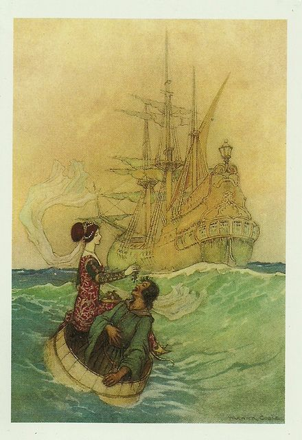 """""""Vastolla and Peruonto Approaching the Ship"""" for Stories from the Pentamerone by Giambattista Basile, 1911. by raima50, via Flickr"""