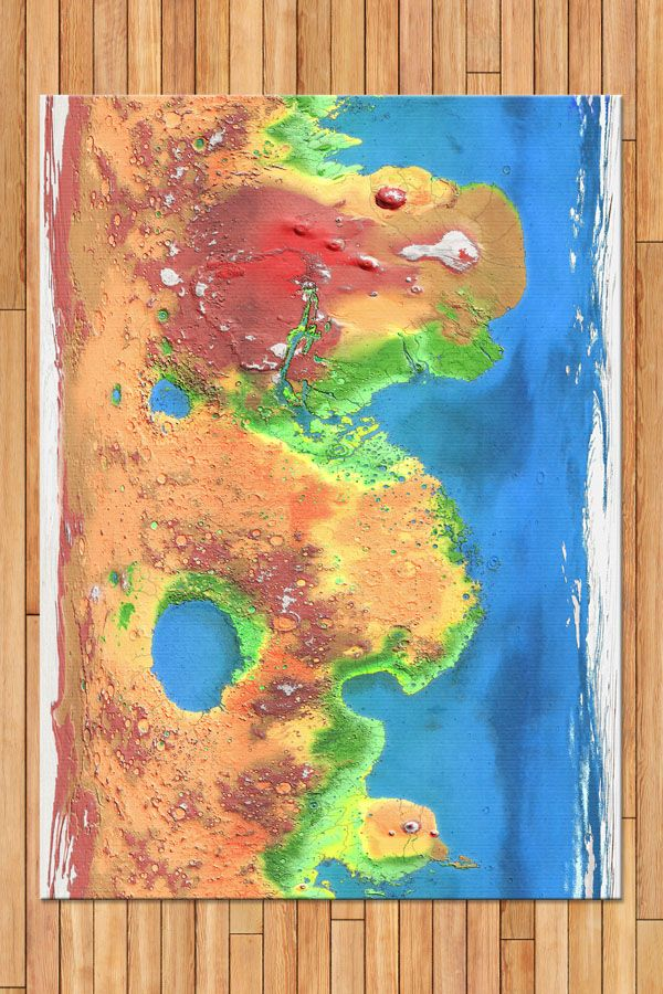 MODIFIED MARS MAP 5'x7' AREA RUG - All the oceans, forests, canyons, deserts and mountains of terraformed Mars on a colorful rug. Our flat-weave floor coverings are made in the USA. Choose a unique design or make your own to bring customized style to your floor. 100% polyester woven fabric that features a textured chevron pattern Finished hemmed edges We recommend the use of a non-skid rug pad to keep the rug in place on smooth surfaces Our rugs are printed on demand once you order them!