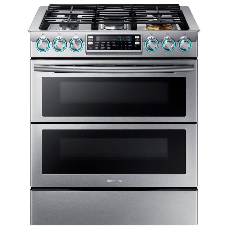 Flex Duo 5.8 cu. ft. Slide-In Double Oven Gas Range with Self-Cleaning Convection Oven in Stainless Steel