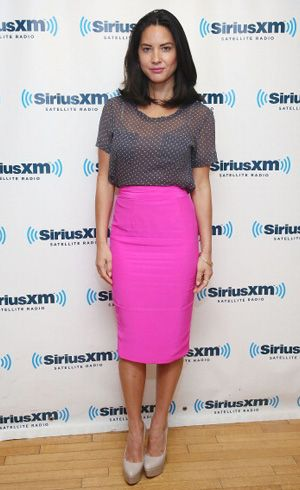 Get Olivia Munn's style- Pink Pencil Skirt