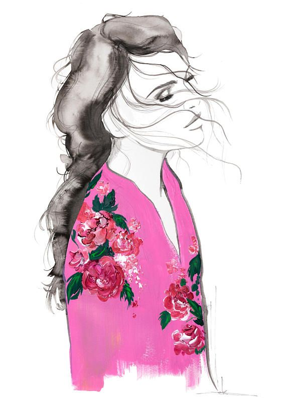 Pink Kimono print from original mixed media fashion