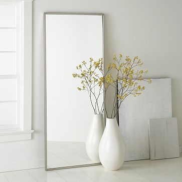The floor mirror by @west elm would help to brighten and enlarge the space. I love the oversized floor vase, too. Truly elegant and perfect with the rest of the pieces in this Dream Room. #HSN #HouseBeautiful