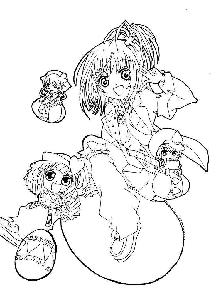 Shugo chara cartoon coloring pages for kids printable free