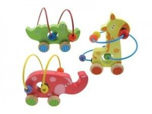 Animal Bead Maze -3 totally adorable bead and wire animal designs! Perfect for little fingers to slide the coloured beads around and through the plastic covered wire of each animal. They also roll along on 4 wheels for added fun! #maze #animal #animalbeads #maze #gifts #giftsforkids #elephant #giraffe #crocodile #alligator #woodentoys #educationaltoys #toys #christening #namingday #xmas #